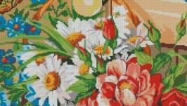 Схема вышивки крестом  Корзина с цветами и бабочки