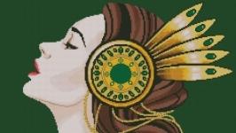 Схема вышивки крестом Девушка с брошью в волосах