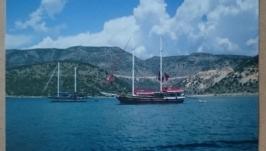 Фото картины: Море яхты и Горы река
