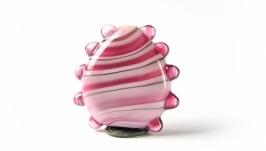 Бусина лэмпворк розовая полосатая