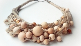 Эко - украшения, эко-колье из натуральных льняных нитей и деревянных бусин