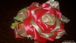 Заколка Роза из лент канзаши