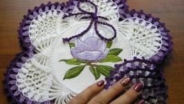 Набор салфеток декоративных ′Магнолия′ с сиреневой обвязкой. 6 шт