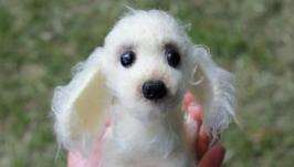 Вязаная игрушка собачка породы спаниель