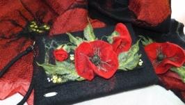 ′А маки цвітуть..′ палантин, клатч, брошка