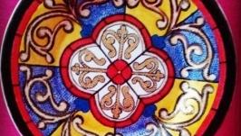 Декоративная тарелка с росписью ′Средневековый витраж′