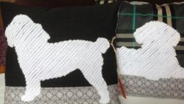 Подушка хендмейд с Той Пуделем белого цвета