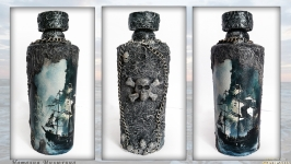 Декор бутылки в морском стиле «Летучий голландец» Сувениры морской тематики
