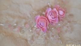 Гребень с розовым кварцем ′Розочки′