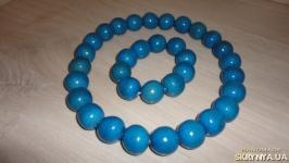 Бусы и браслет, цвет Синий