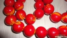Бусы мраморные, цвет Красный