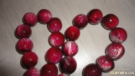 Бусы мраморные, цвет Бордовый