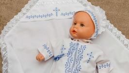 Набір для хрещення Янгол синьо-блакитний