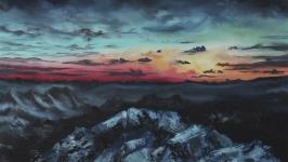 Картина «Закат.Горы.Снег.», 40*50