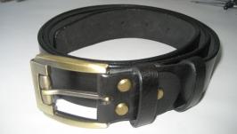 004  M BL38 Мужской кожаный ремень чёрного цвета под джинсы 38 мм