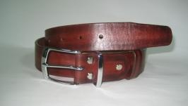 005 M R38 Мужской кожаный ремень  красный под джинсы 38 мм