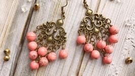 Романтичные коралловые серьги в винтажном стиле
