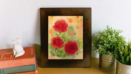 Картина акварелью ′Красные розы′