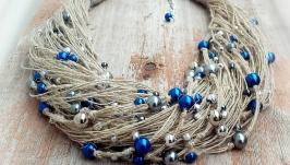 Эко-колье на шею из светлых натуральных льняных нитей и бусин