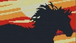 Конь на закате. Схема вышивки крестом