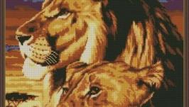 Лев и львица. Схема вышивки крестом