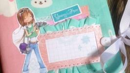 Нежный розово-мятный блокнотик для записей