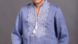 Вышиванка для мальчика ′Твори Мир′ джинс лён белая вышивка
