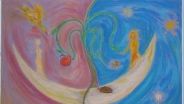 Картина пастеллю ′Нас двоє, ми творимо світ′.