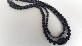 Бусы ′Черный агат, шунгит и  гематит′