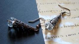 Сережки«Кришталеві» в вінтажному стилі