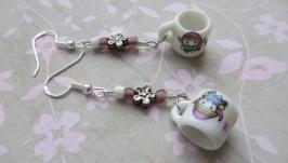 Сережки «Горнятка» авторські сережки ручної роботи