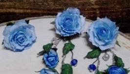 Серьги с цветами из фоамирана