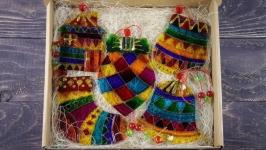 Набор ёлочных игрушек « Мозаика», фьюзинг, стекло, витражная роспись