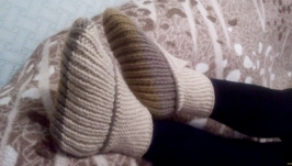 Женские вязаные носки-тапочки, ручная работа