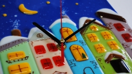Часы ′Накануне Рождества′, стекло, фьюзинг