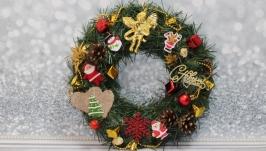 Венок на двери, корпоративные подарки, рождественский венок