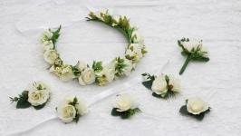 Венок свадебный, Венок на голову свадебный, зимний венок на голову белый
