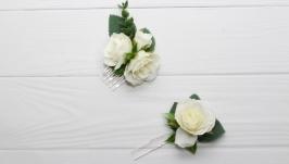 Свадебный гребень для волос , зимний гребень на голову белый