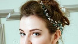 Свадебная веточка в прическу, хрустальный гребень для волос