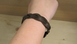 Браслет «косичка 3», коричневий