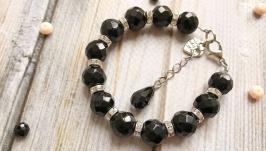 Черный элегантный браслет с натуральным агатом в классическом стиле