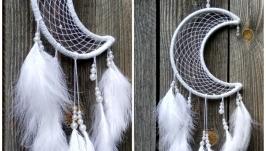 Ловец снов в форме полумесяца( белый)