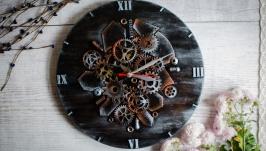 Настенные часы из дерева и метала ′The Dark Lord′