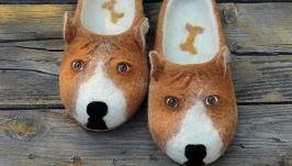 Мужские валяные тапочки собаки Питбули