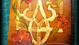 Кожаная обложка на паспорт Герб в цветах