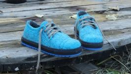 Валяные спортивные туфли, кеды Сапфировый король