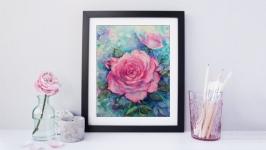 Картина акварелью ′Розовые розы′