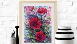 Картина акварелью ′Темно-красные Розы′