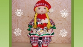 Рождественская гномочка, текстильная кукла, подарок к рождеству и Новому г.