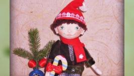 Рождественский гном, текстильная интерьерная кукла